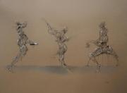 Salanié - Dessin 5 - fusain et posca sur papier encadré - vendu