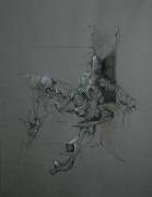 Salanié - Dessin 2 - fusain et posca sur papier encadré